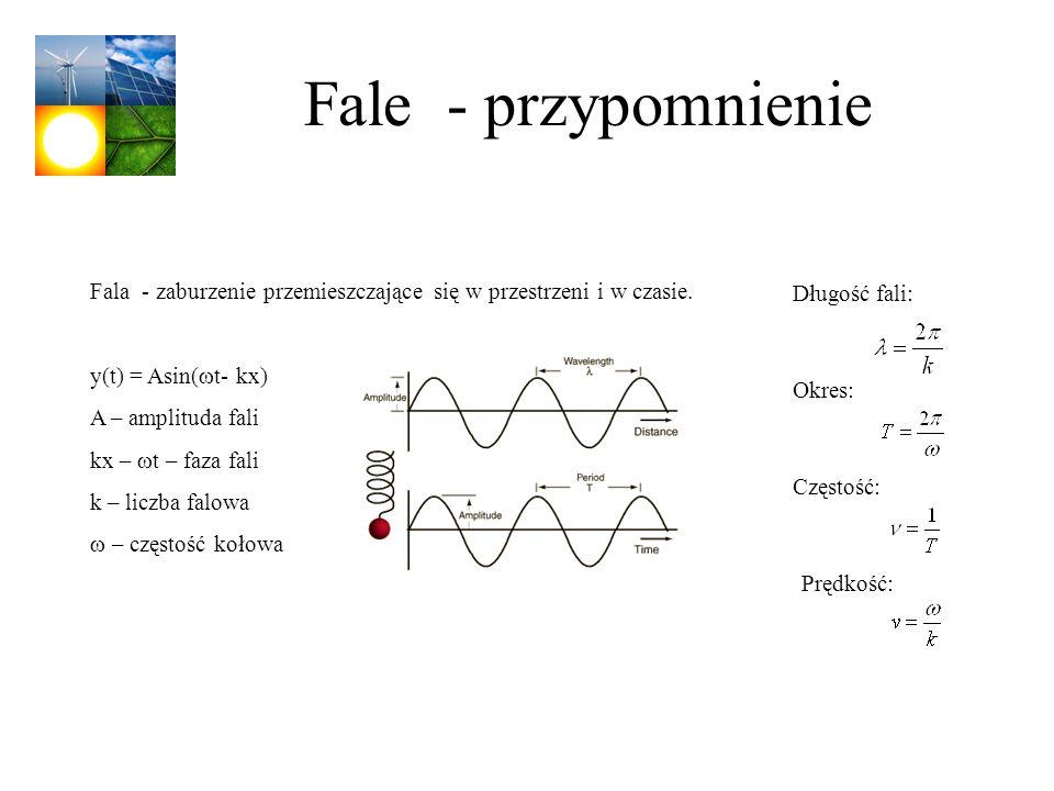 Fale - przypomnienieFala - zaburzenie przemieszczające się w przestrzeni i w czasie. y(t) = Asin(wt- kx)