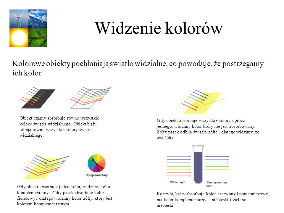 Widzenie kolorów Kolorowe obiekty pochłaniają światło widzialne, co powoduje, że postrzegamy ich kolor.