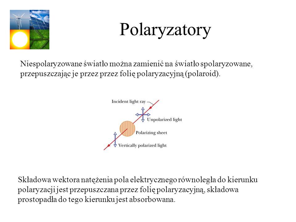 Polaryzatory Niespolaryzowane światło można zamienić na światło spolaryzowane, przepuszczając je przez przez folię polaryzacyjną (polaroid).