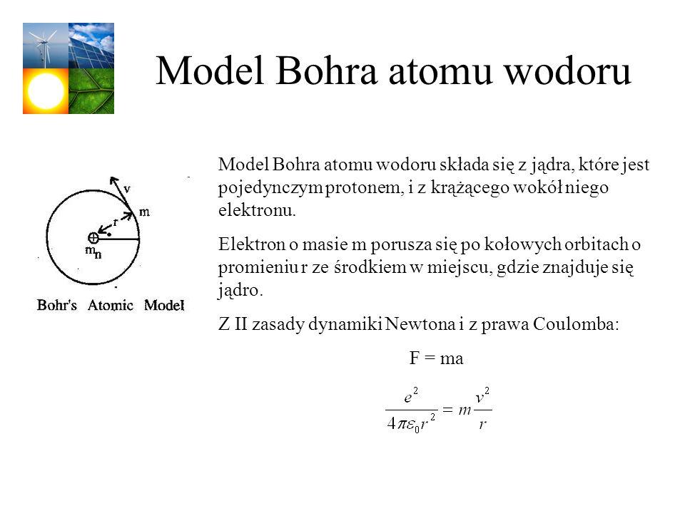 Model Bohra atomu wodoru