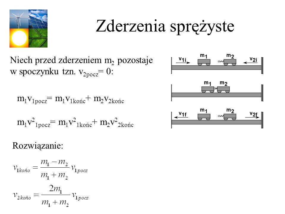 Zderzenia sprężyste Niech przed zderzeniem m2 pozostaje w spoczynku tzn. v2pocz= 0: m1v1pocz= m1v1końc+ m2v2końc.