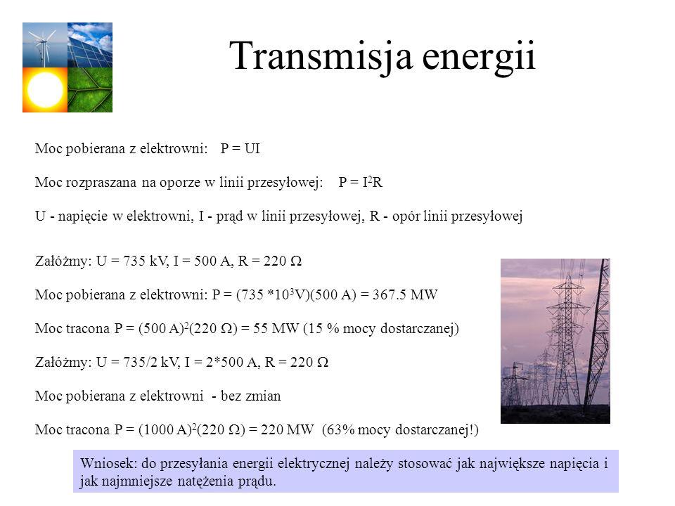 Transmisja energii Moc pobierana z elektrowni: P = UI