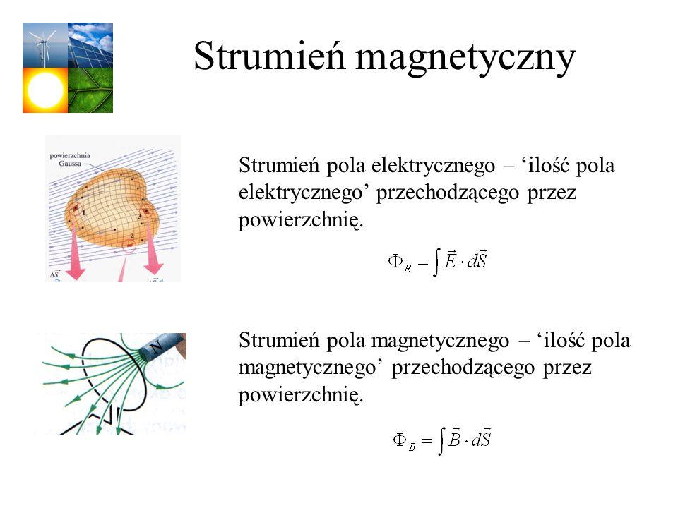 Strumień magnetyczny Strumień pola elektrycznego – 'ilość pola elektrycznego' przechodzącego przez powierzchnię.
