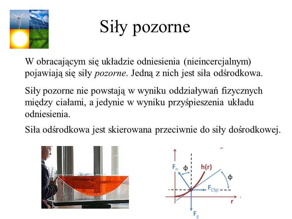 Siły pozorne W obracającym się układzie odniesienia (nieincercjalnym) pojawiają się siły pozorne. Jedną z nich jest siła odśrodkowa.