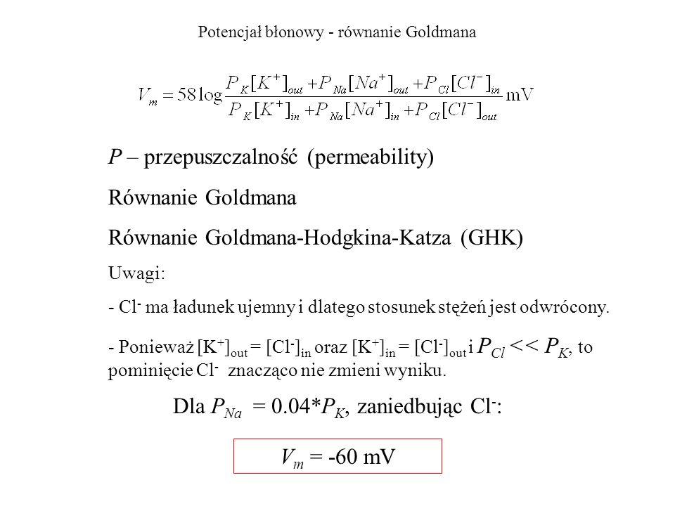 Potencjał błonowy - równanie Goldmana
