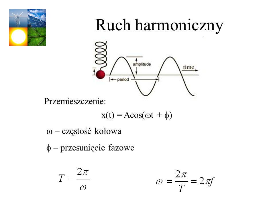 Ruch harmoniczny Przemieszczenie: x(t) = Acos(wt + f)