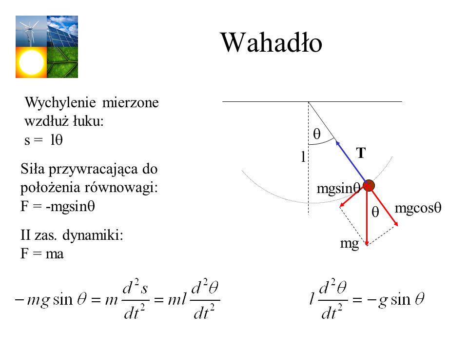 Wahadło Wychylenie mierzone wzdłuż łuku: s = lq q T l
