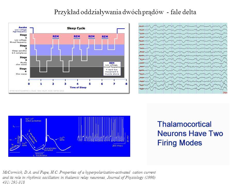 Przykład oddziaływania dwóch prądów - fale delta
