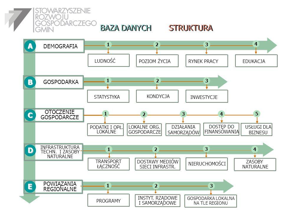 BAZA DANYCH STRUKTURA A B C D E DEMOGRAFIA GOSPODARKA