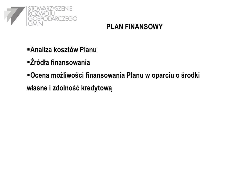 PLAN FINANSOWY Analiza kosztów Planu. Źródła finansowania.