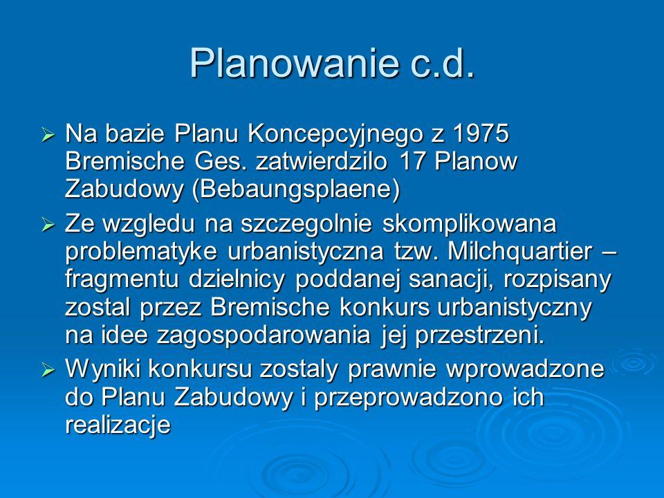 Planowanie c.d. Na bazie Planu Koncepcyjnego z 1975 Bremische Ges. zatwierdzilo 17 Planow Zabudowy (Bebaungsplaene)