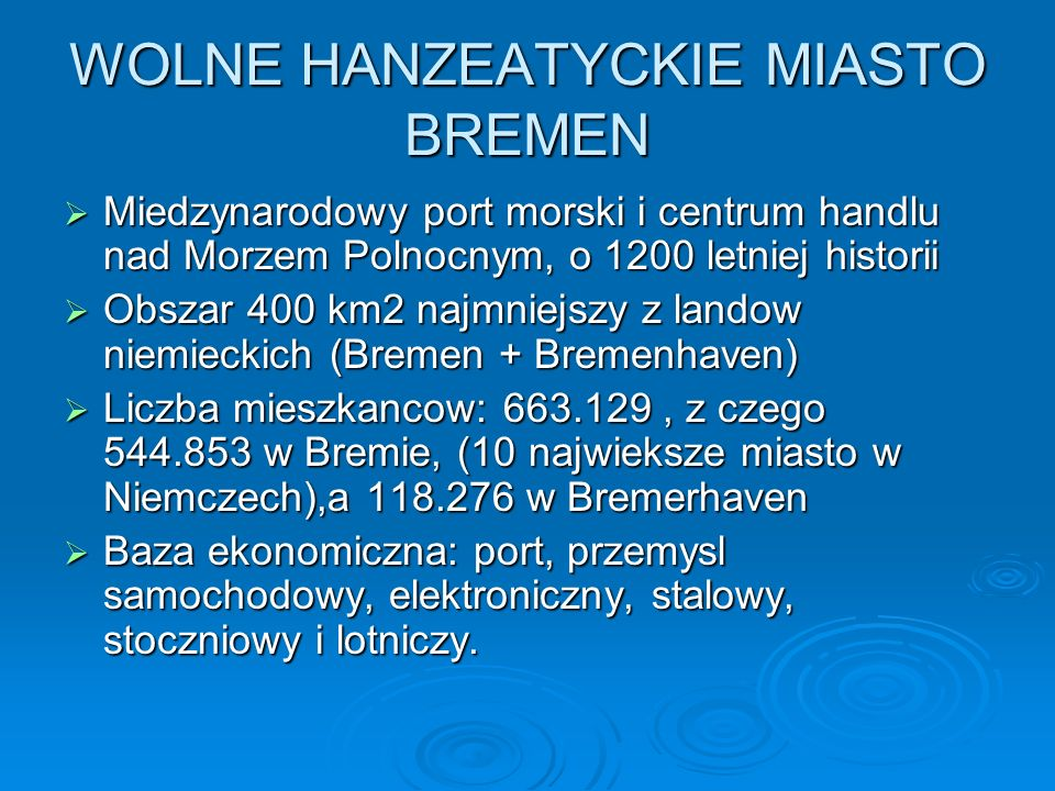 WOLNE HANZEATYCKIE MIASTO BREMEN