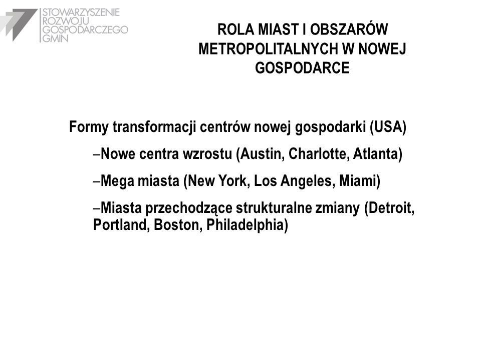 ROLA MIAST I OBSZARÓW METROPOLITALNYCH W NOWEJ GOSPODARCE