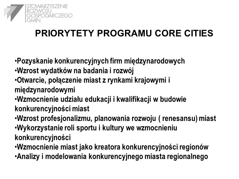PRIORYTETY PROGRAMU CORE CITIES