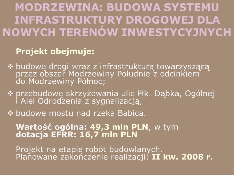 MODRZEWINA: BUDOWA SYSTEMU INFRASTRUKTURY DROGOWEJ DLA NOWYCH TERENÓW INWESTYCYJNYCH
