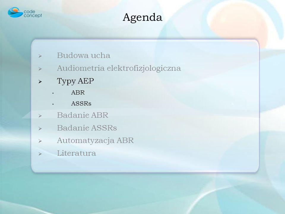 Agenda Budowa ucha Audiometria elektrofizjologiczna Typy AEP