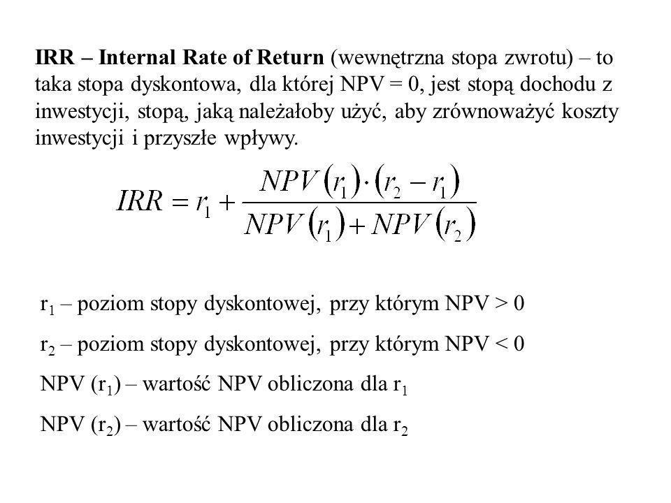 IRR – Internal Rate of Return (wewnętrzna stopa zwrotu) – to taka stopa dyskontowa, dla której NPV = 0, jest stopą dochodu z inwestycji, stopą, jaką należałoby użyć, aby zrównoważyć koszty inwestycji i przyszłe wpływy.