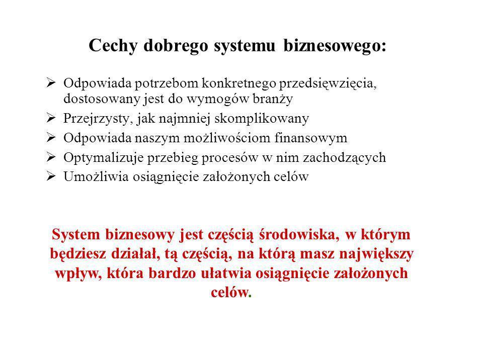 Cechy dobrego systemu biznesowego: