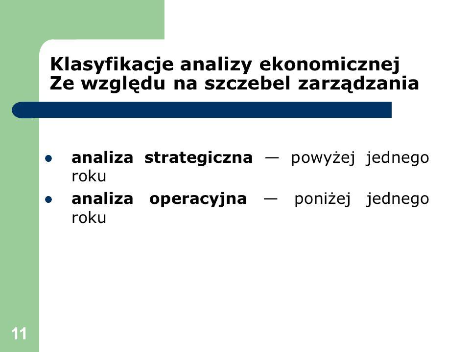 Klasyfikacje analizy ekonomicznej Ze względu na szczebel zarządzania