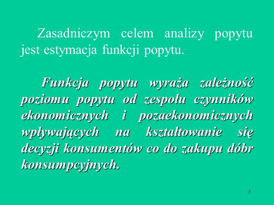 Zasadniczym celem analizy popytu jest estymacja funkcji popytu.