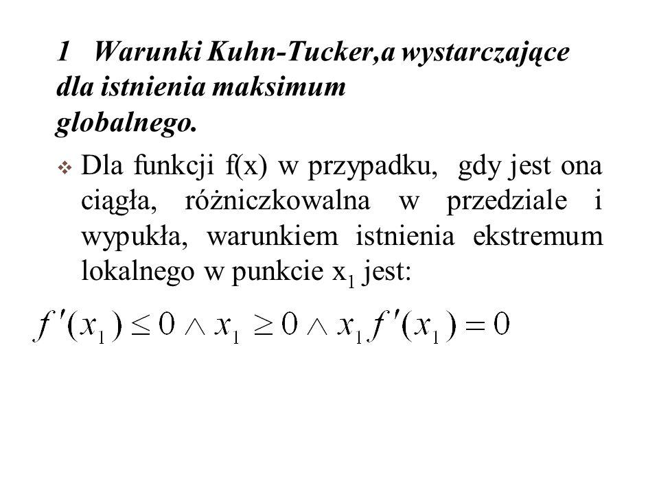 1 Warunki Kuhn-Tucker,a wystarczające dla istnienia maksimum globalnego.