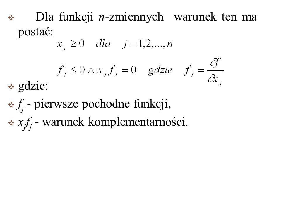 Dla funkcji n-zmiennych warunek ten ma postać: