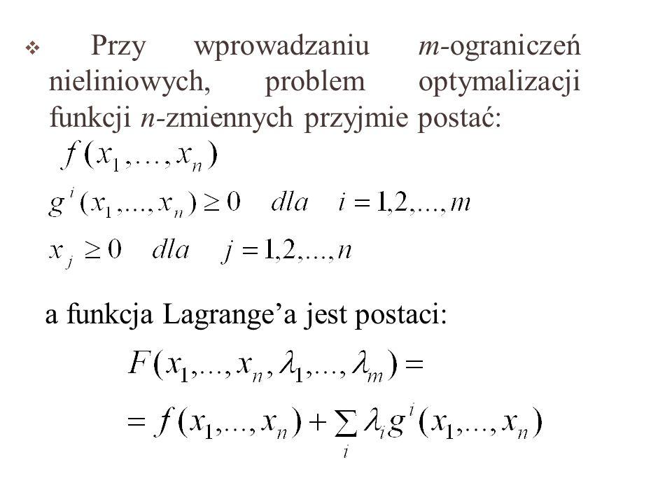 Przy wprowadzaniu m-ograniczeń nieliniowych, problem optymalizacji funkcji n-zmiennych przyjmie postać: