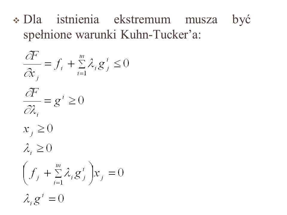 Dla istnienia ekstremum musza być spełnione warunki Kuhn-Tucker'a: