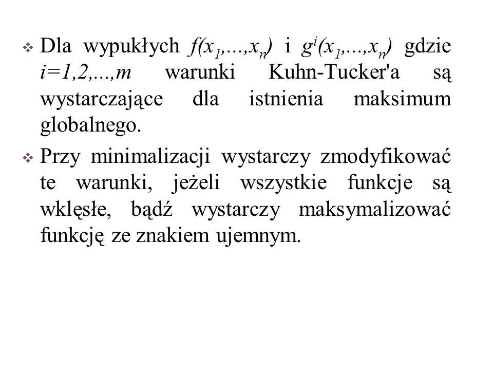 Dla wypukłych f(x1,. ,xn) i gi(x1,. ,xn) gdzie i=1,2,