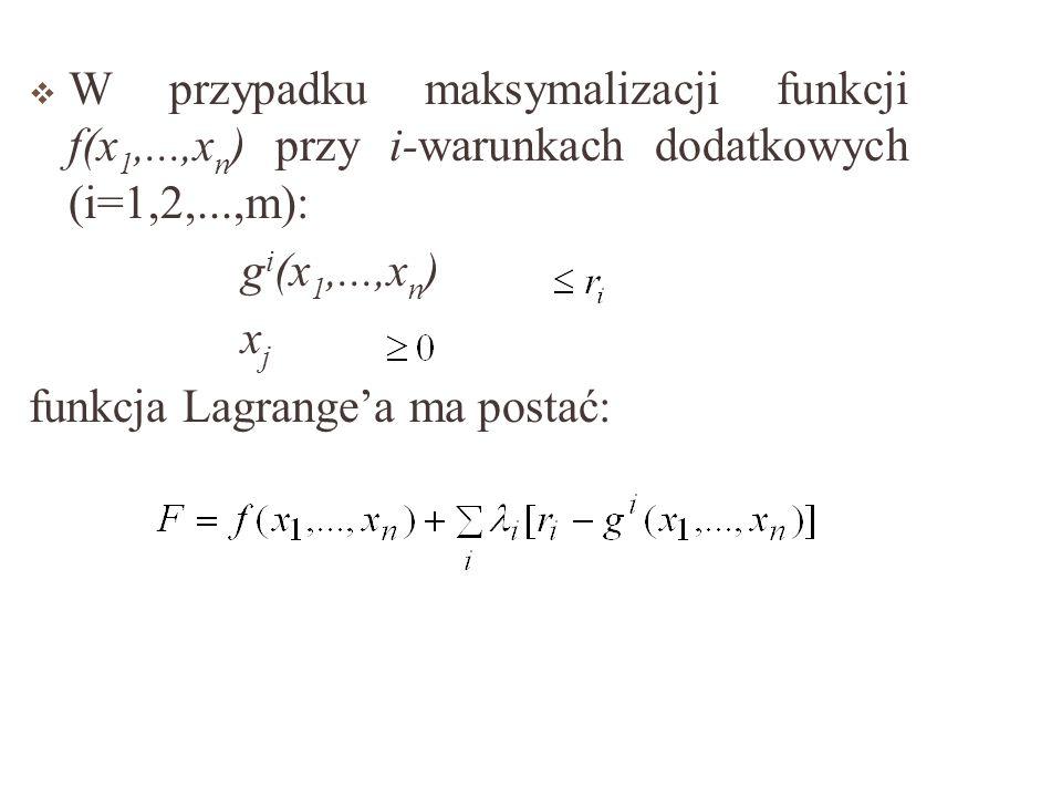 W przypadku maksymalizacji funkcji f(x1,