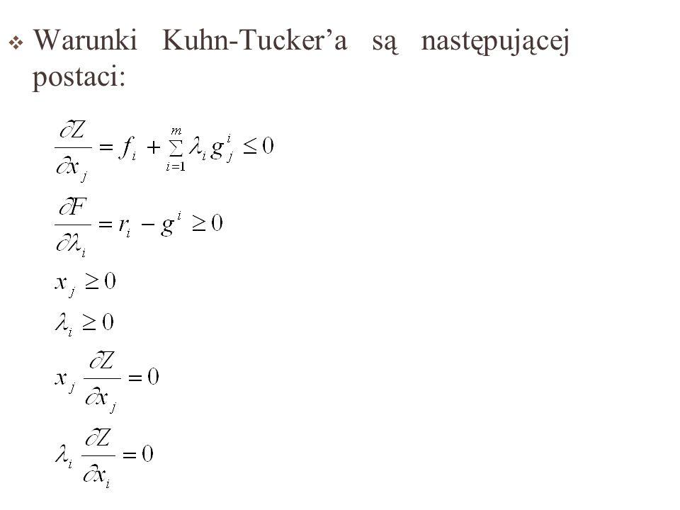 Warunki Kuhn-Tucker'a są następującej postaci: