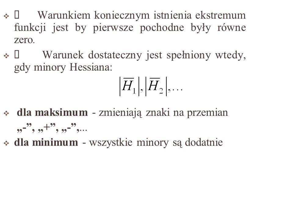 Ü Warunkiem koniecznym istnienia ekstremum funkcji jest by pierwsze pochodne były równe zero.