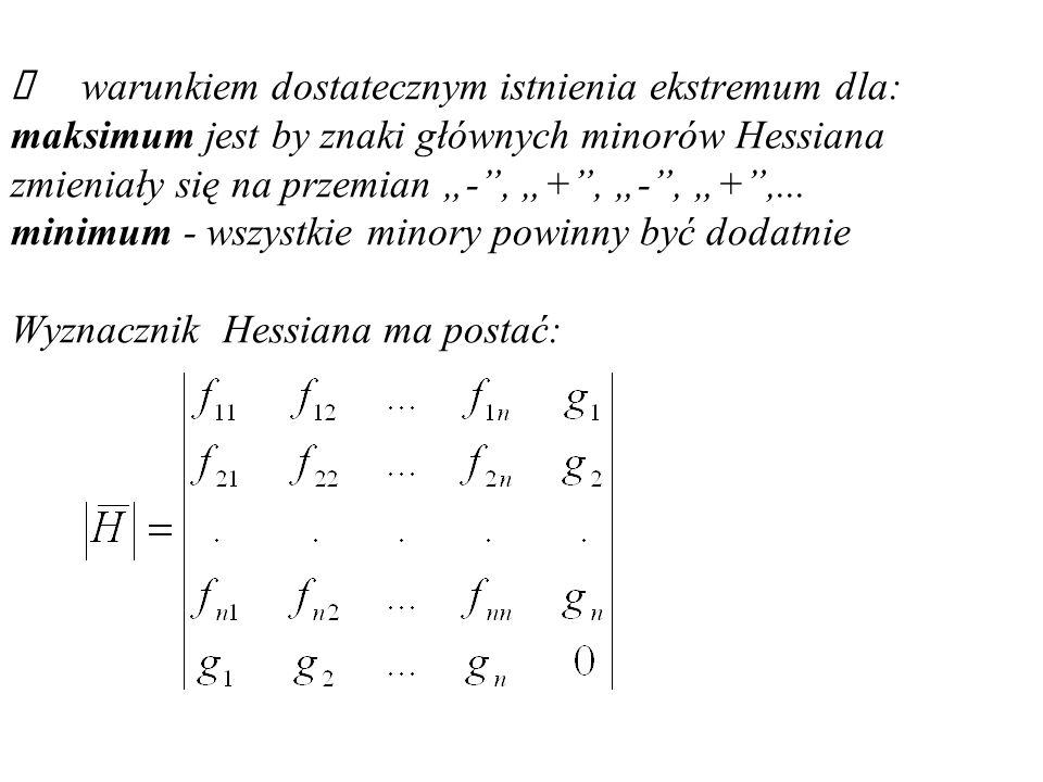 """Ü warunkiem dostatecznym istnienia ekstremum dla: maksimum jest by znaki głównych minorów Hessiana zmieniały się na przemian """"- , """"+ , """"- , """"+ ,..."""