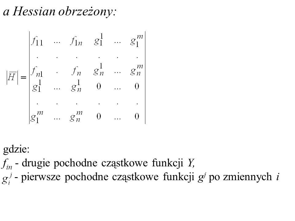 a Hessian obrzeżony: gdzie: fin - drugie pochodne cząstkowe funkcji Y,
