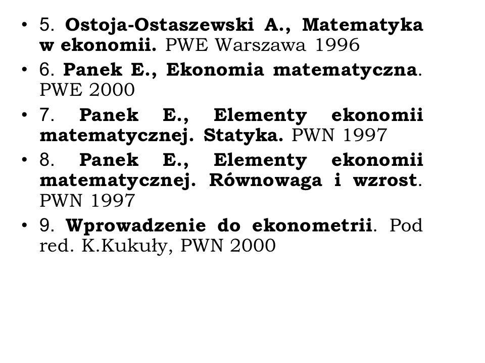 5. Ostoja-Ostaszewski A., Matematyka w ekonomii. PWE Warszawa 1996