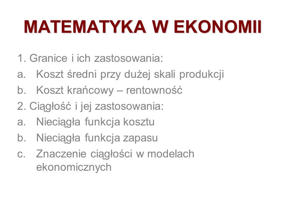 MATEMATYKA W EKONOMII 1. Granice i ich zastosowania: