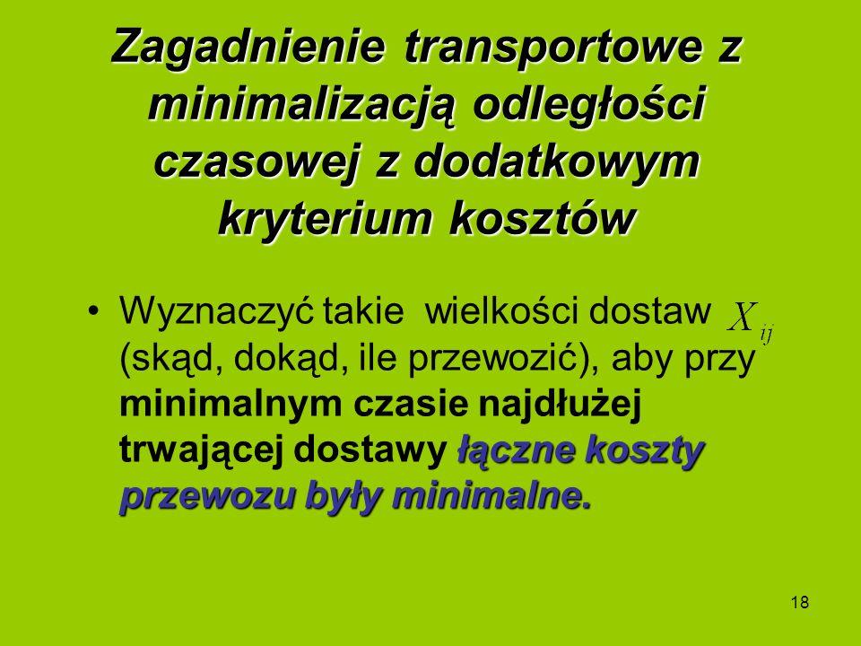 Zagadnienie transportowe z minimalizacją odległości czasowej z dodatkowym kryterium kosztów