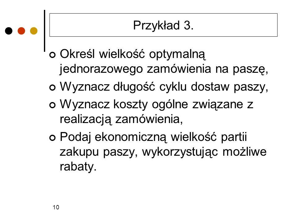 Przykład 3. Określ wielkość optymalną jednorazowego zamówienia na paszę, Wyznacz długość cyklu dostaw paszy,