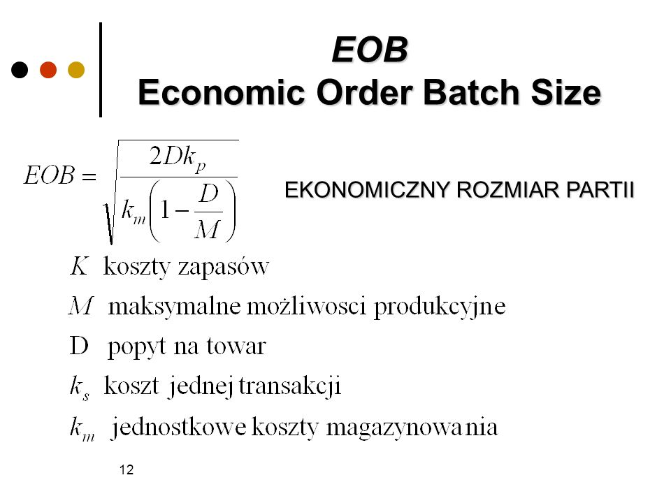 EOB Economic Order Batch Size