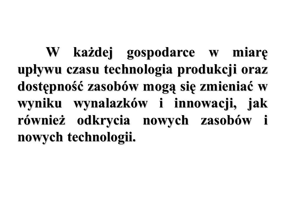 W każdej gospodarce w miarę upływu czasu technologia produkcji oraz dostępność zasobów mogą się zmieniać w wyniku wynalazków i innowacji, jak również odkrycia nowych zasobów i nowych technologii.