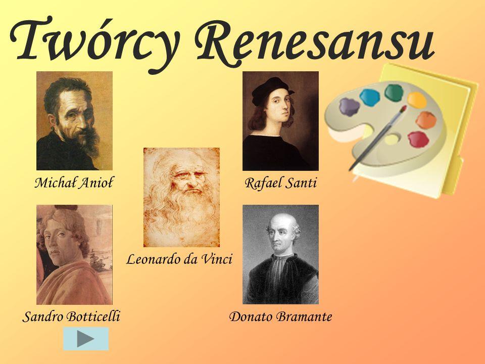 Twórcy Renesansu Michał Anioł Rafael Santi Leonardo da Vinci