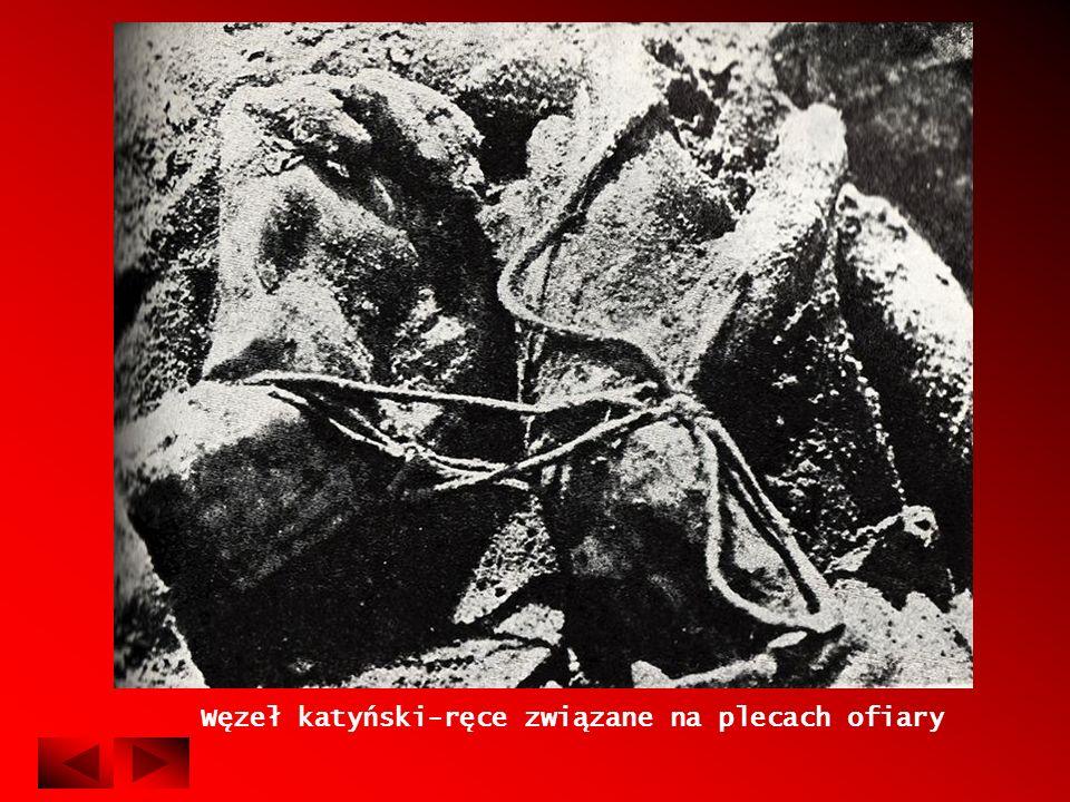 Węzeł katyński-ręce związane na plecach ofiary