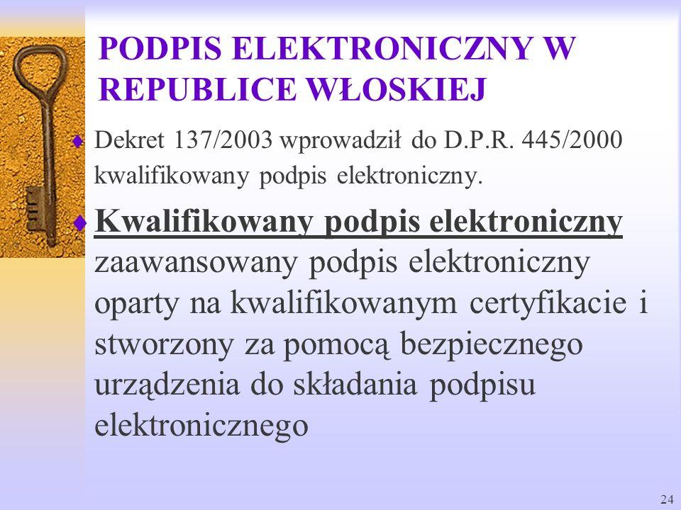 PODPIS ELEKTRONICZNY W REPUBLICE WŁOSKIEJ