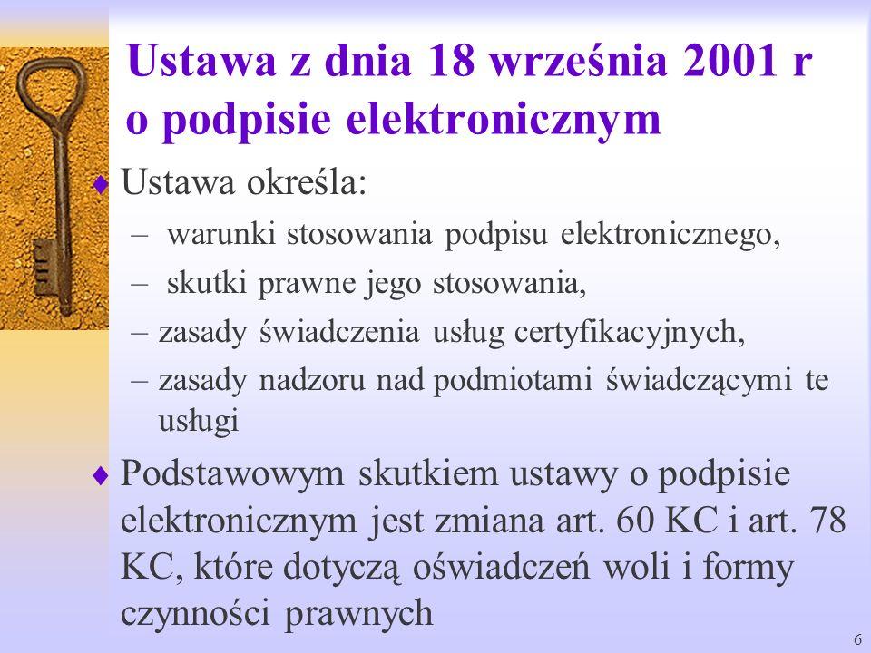 Ustawa z dnia 18 września 2001 r o podpisie elektronicznym