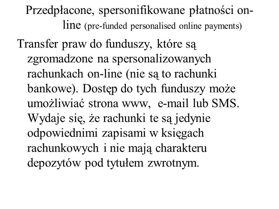 Przedpłacone, spersonifikowane płatności on-line (pre-funded personalised online payments)