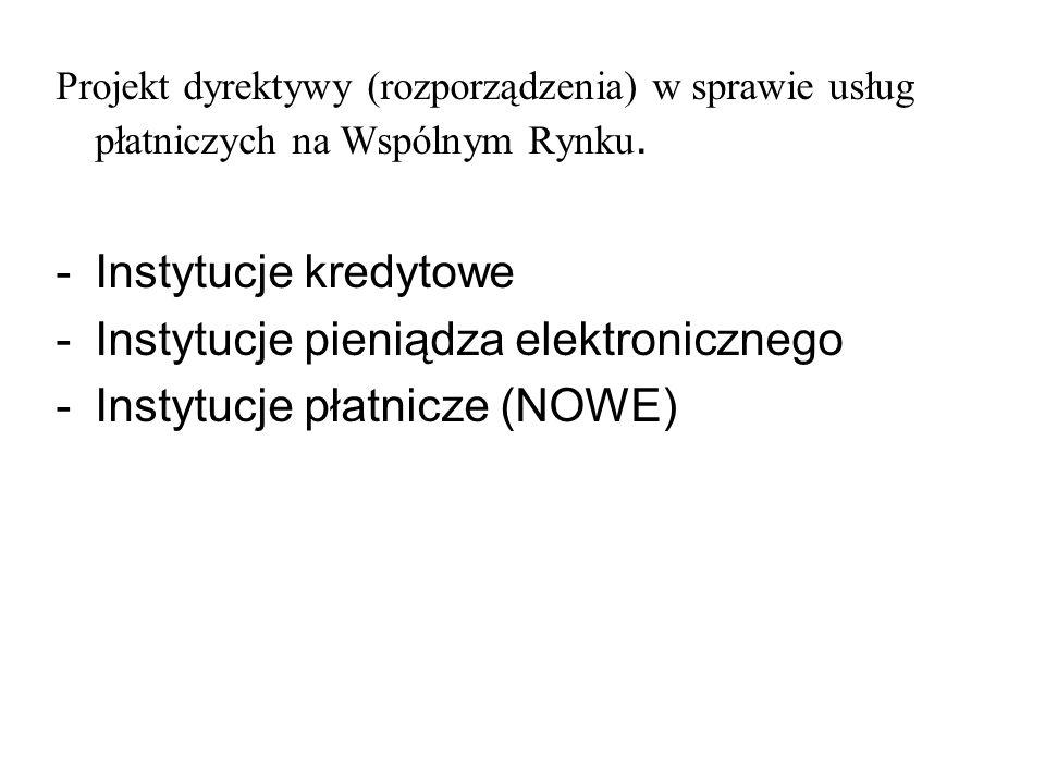 Instytucje pieniądza elektronicznego Instytucje płatnicze (NOWE)