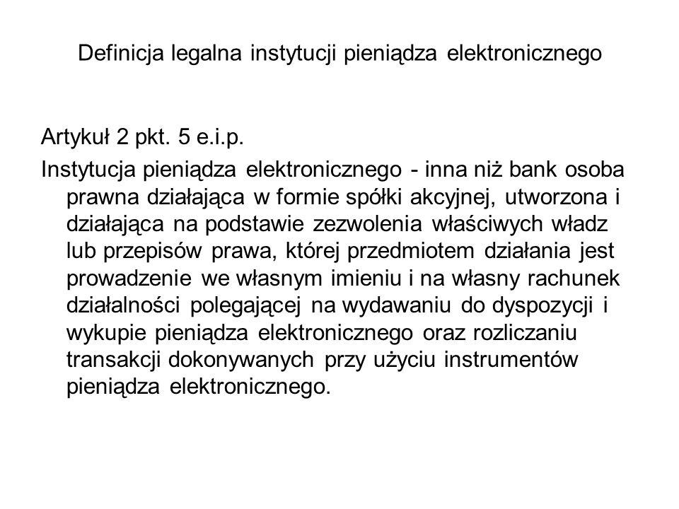 Definicja legalna instytucji pieniądza elektronicznego