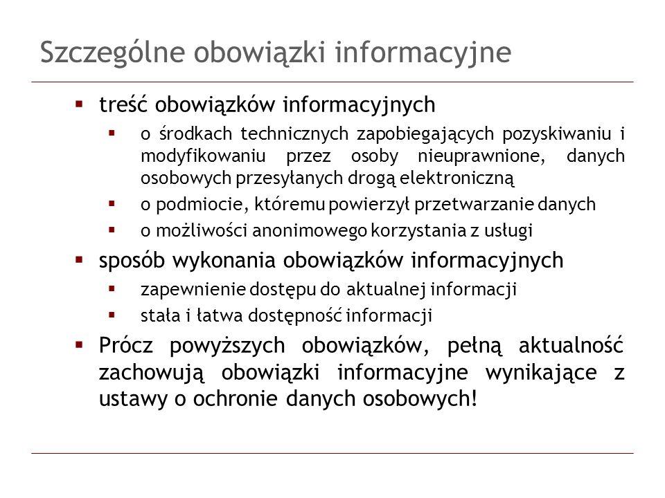 Szczególne obowiązki informacyjne