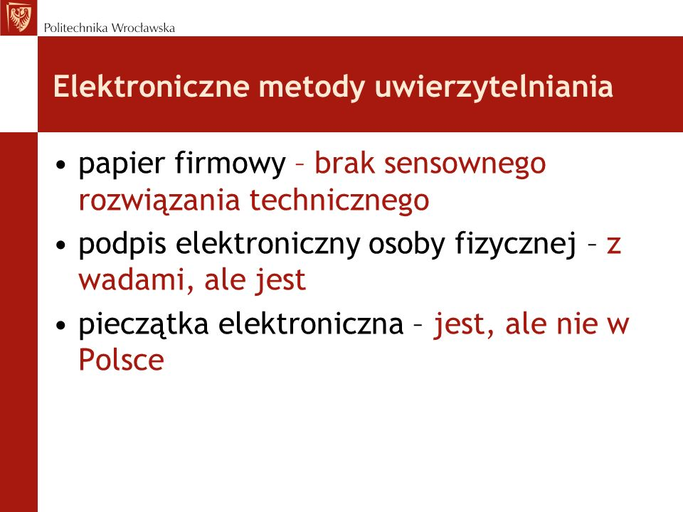 Elektroniczne metody uwierzytelniania