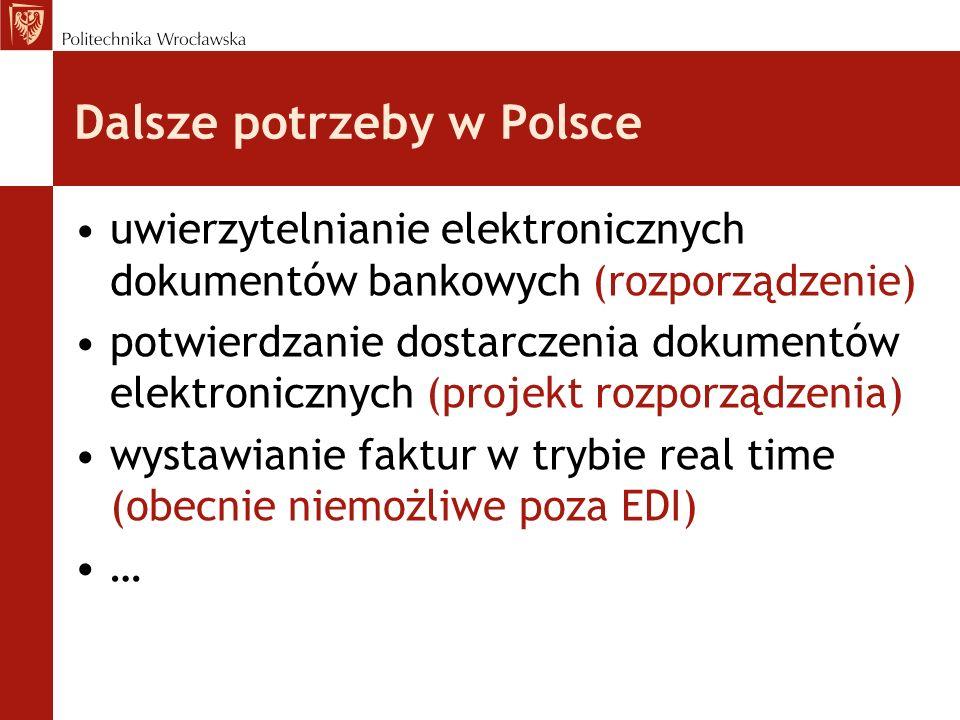Dalsze potrzeby w Polsce